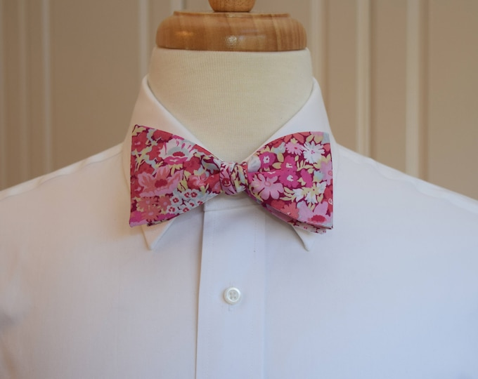 Men's Bow Tie, Liberty of London pink/pale blue floral  bow tie, groom/groomsmen/wedding bow tie, Thorpe print, prom bow tie, tux accessory