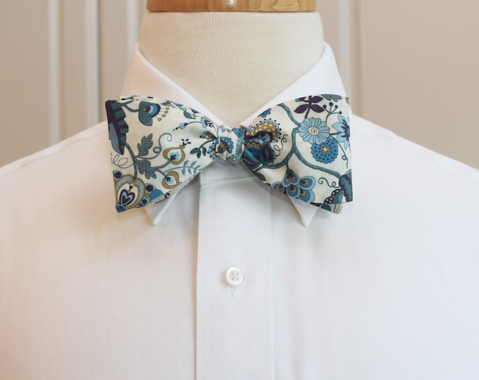 Men's Bow Tie, Liberty of London teal/ivory Mabelle floral print, groom/groomsmen/wedding bow tie, classic English bow tie, tux accessory