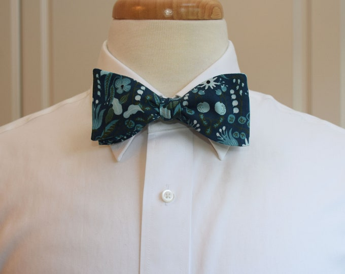 Men's Bow Tie, Rifle Paper Co. Amalfi Freja tea/aqua/green floral bow tie, wedding bow tie, groom/groomsmen bow tie, Kentucky Derby bow tie
