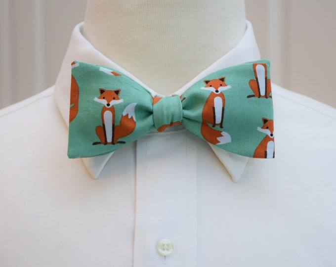 Men's Fox Bow Tie, aqua/teal background, zoo wedding bow tie, witty animal bow tie, animal lover bow tie, fox lover bow tie, groomsmen gift