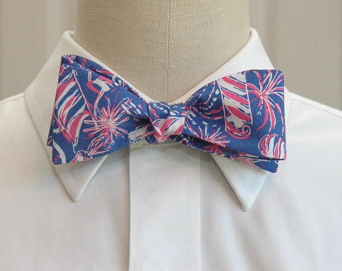 Men's Bow Tie, Cherry Bomb Lilly print bow tie, blue, pink fireworks bow tie, wedding bow tie, 4th July bow tie, Independence Day bow tie,