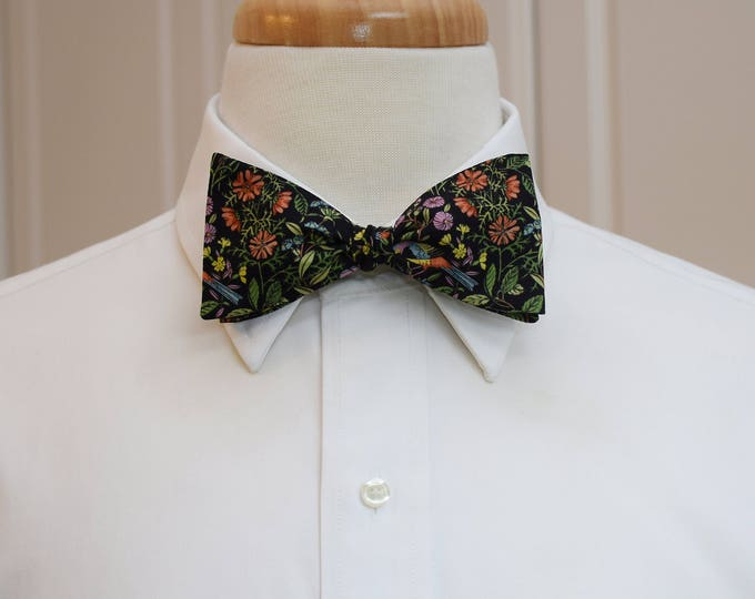 Men's Bow Tie, Liberty of London, black/green/multi floral Catesby print bow tie, groomsmen/groom bow tie, wedding bow tie, tux accessory,