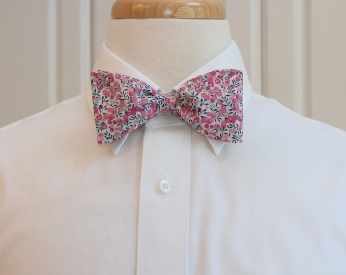 Mens Bow Tie, Liberty of London, pinks/gray/navy Wiltshire Buds bow tie, groomsmen/groom bow tie, wedding bow tie, easter, spring wedding