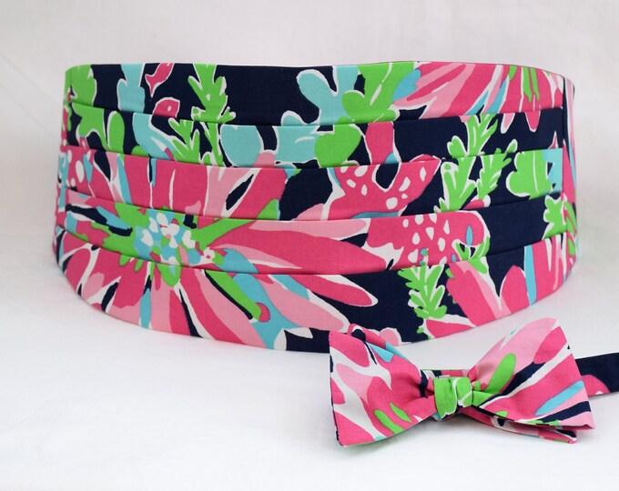 Cummerbund & Bow Tie, navy/pink/green Sippin n' Trippin Lilly print, groom cummerbund, wedding party wear, tuxedo accessory, prom cummerbund