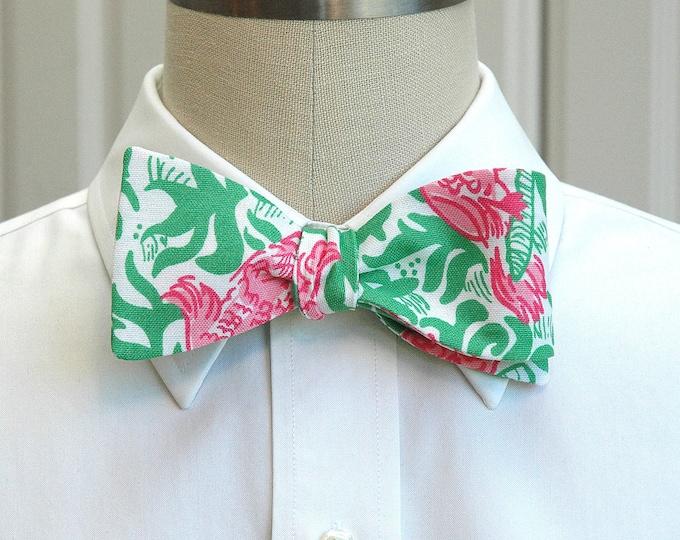 Men's Bow Tie, Cockatiel Cutie pink and green Lilly print, parrot bow tie, pink green bow tie, bird bow tie, wedding bow tie, groom bow tie