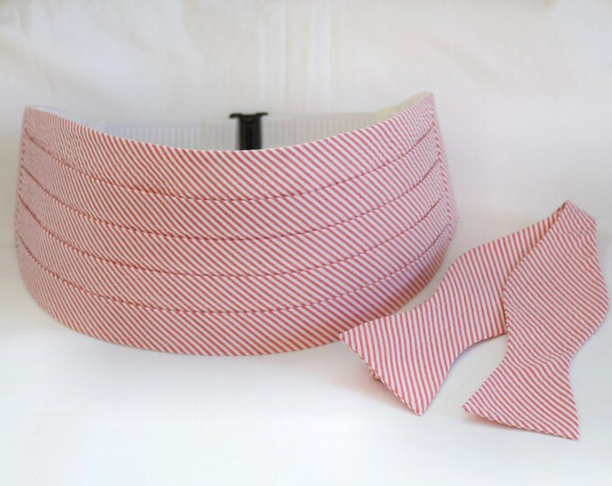 Cummerbund & Bow Tie, coral seersucker, wedding party menswear, tuxedo accessory, groom formal wear, southern stylish wedding, custom made