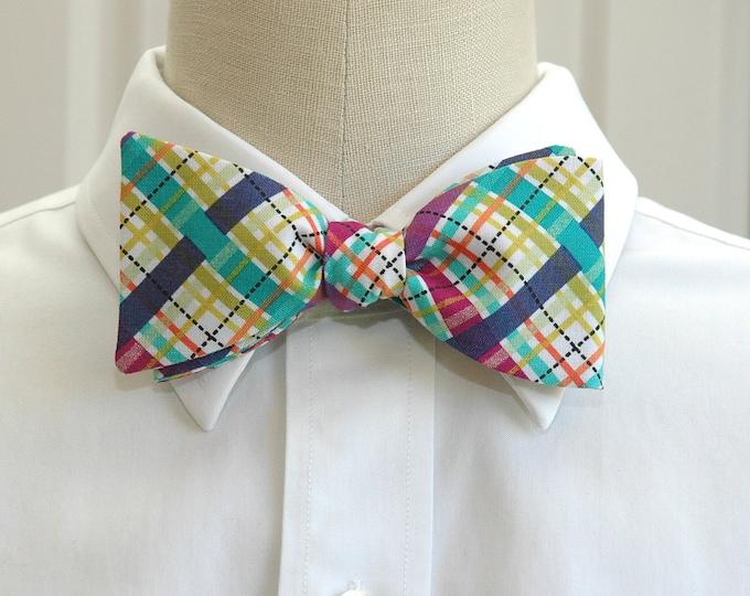 Men's Bow Tie, jewel tones plaid bow tie, wedding bow tie, groom bow tie, groomsmen gift, prom bow tie, blue, green, purple plaid bow tie