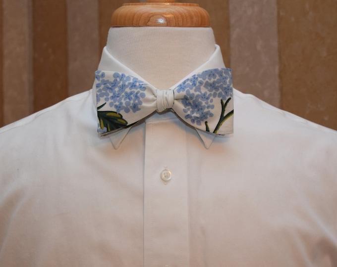 Men's Bow Tie, Rifle Paper Co. Meadow hydrangea blue/ivory floral bow tie, wedding party, groom/groomsmen bow tie, tux accessory