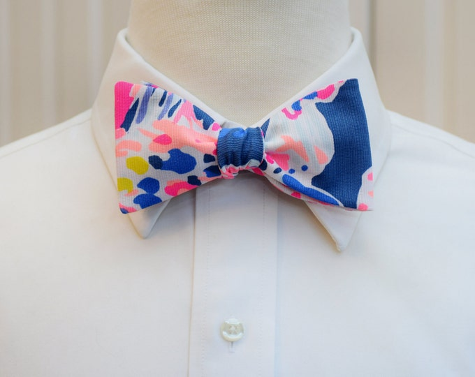 Men's Bow Tie, Sunken Treasures navy pink Lilly print bow tie, groomsmen gift, wedding party bow tie, groom bow tie, tuxedo accessory