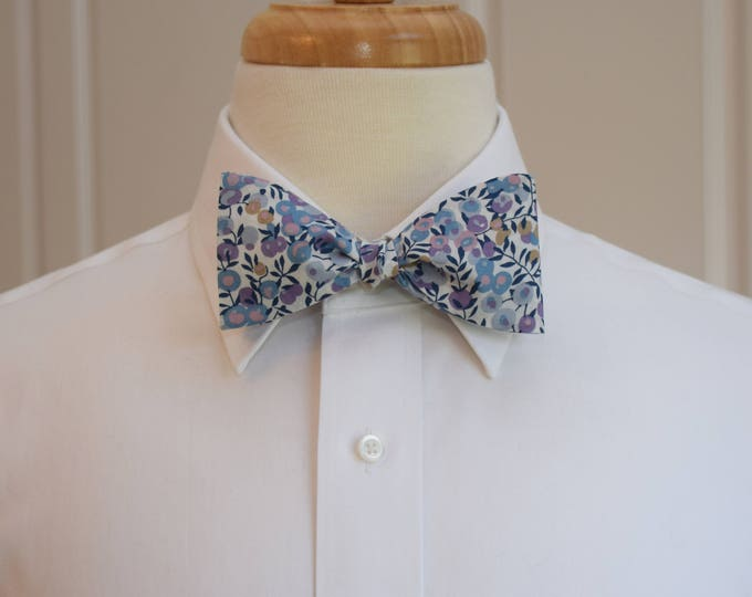 Mens Bow Tie, Liberty of London, blue/lavender Wiltshire berries motif bow tie, groomsmen/groom bow tie, wedding bow tie, tuxedo accessory