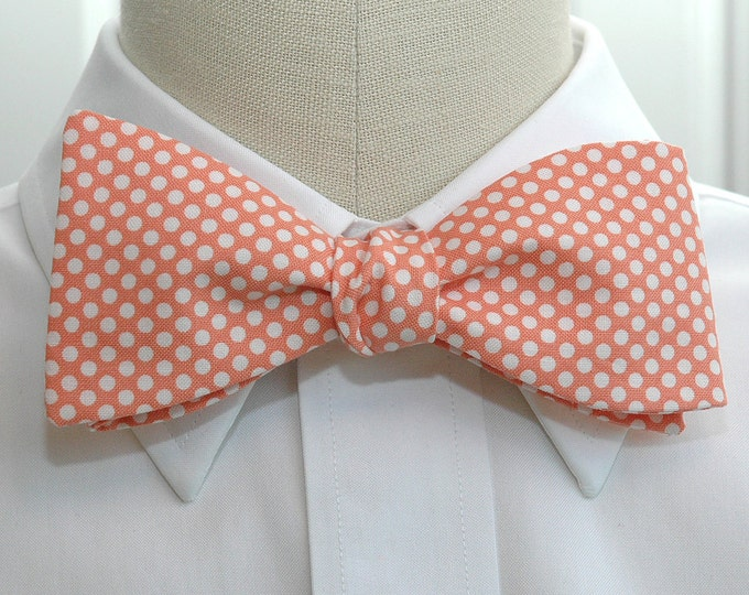 Men's Bow Tie, pale coral with white mini polka dots, wedding bow tie, groom bow tie, salmon pink bow tie, orange bow tie, groomsmen gift,