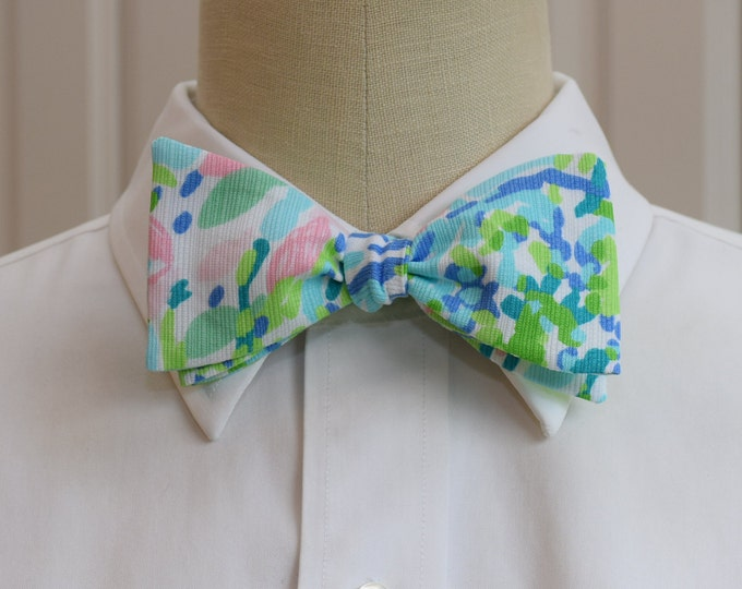 Men's Bow Tie, skye blue Heaven Lilly print, groom/groomsmen bow tie, wedding bow tie, pale pink/blue bow tie, prom bow tie, tux accessory
