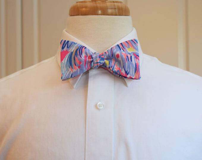Men's Bow Tie, Nice Stems Lilly print, hot pink/purple/multi groomsmen/groom bow tie, wedding bow tie, prom bow tie, Kentucky Derby bow tie