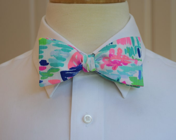 Men's Bow Tie, Salt in the Air blue/pink/green Lilly 2018 sailboat print, groom/groomsmen bow tie, Kentucky Derby bow tie, prom bow tie