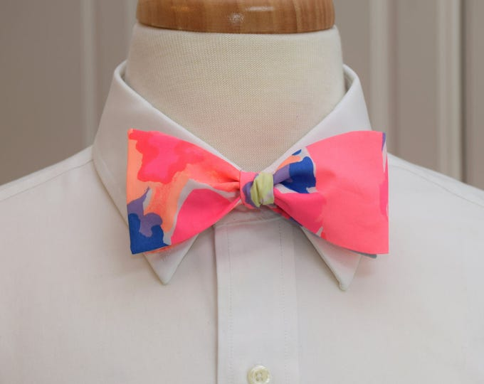 Men's Bow Tie, Playa Hermosa, hot pink, neon coral, blue Lilly print, prom bow tie, wedding bow tie, Kentucky Derby bow tie, groom bow tie,