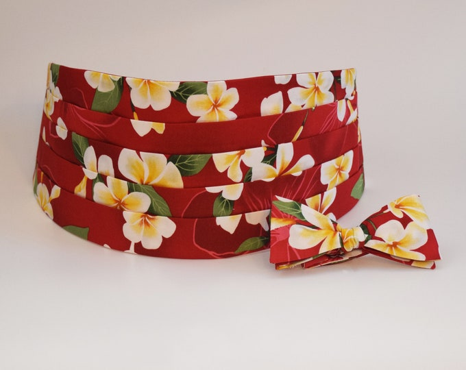 Men's Bow Tie & Cummerbund, red Hawaiian floral print, tropical, wedding party, groom/groomsmen, prom, destination wedding, island wedding