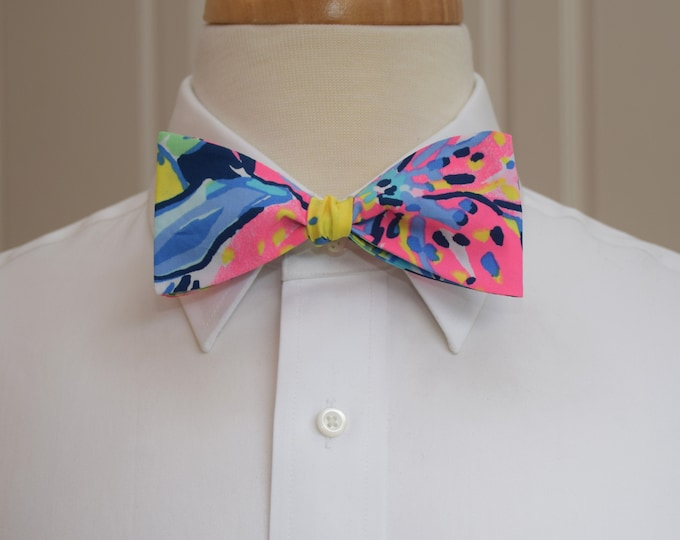 Men's Bow Tie, Capri Soleil hot pinks/blues/yellow tropical floral Lilly print, wedding bow tie, groom/groomsmen bow tie,  tuxedo accessory