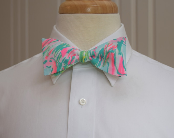 Men's Bow Tie, On Parade pinks/aqua Lilly print, wedding bow tie, groom/groomsmen bow tie, prom bow tie, Carolina Cup tie, Florida bow tie