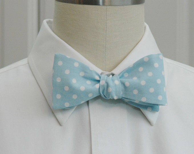 Men's Bow Tie, light blue bow tie, white polka dots, pastel bow tie, wedding bow tie, groom bow tie, groomsmen gift, prom bowtie,  pale blue