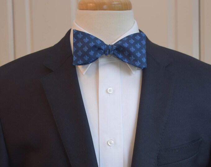 Men's Bow Tie, navy blue fleur de lys bow tie, wedding party tie, groom/groomsmen bow tie, classy tuxedo accessory, navy/royal blue bow tie