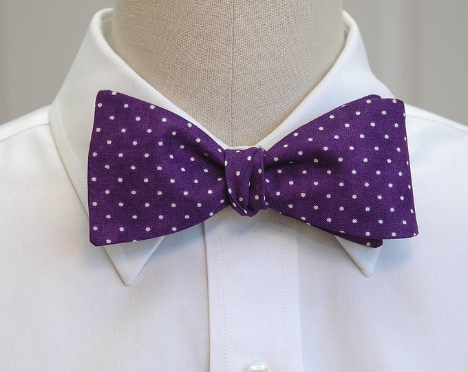 e81bb27d396e Men's Bow Tie, purple & white pin dots bow tie, deep purple bow tie