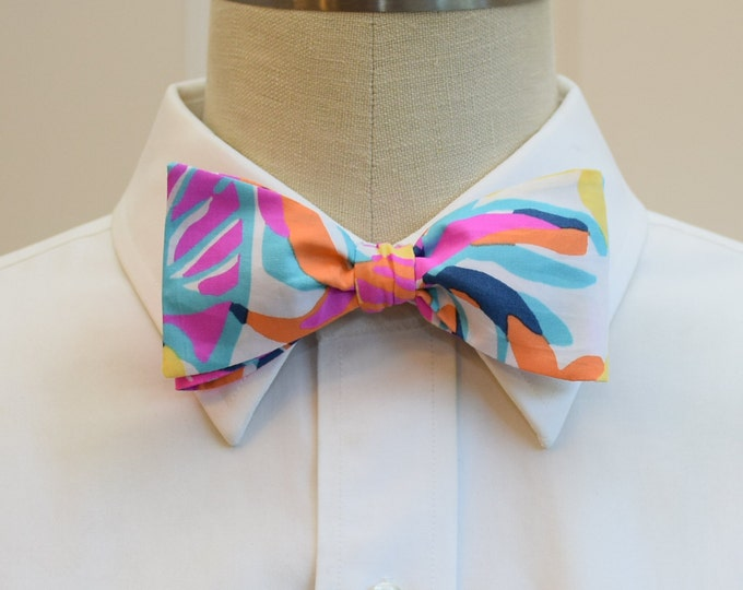 Men's Bow Tie, Besame Mucho multi color Lilly print bow tie, wedding bow tie, groom/groomsmen bow tie, Kentucky Derby tie, prom bow tie