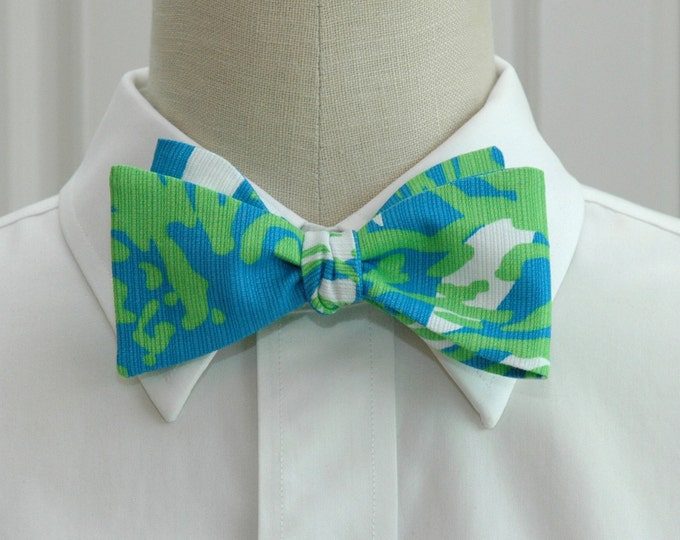 Men's Bow Tie, Roar of the Jungle Lilly print, blue green bow tie, wedding bow tie, groom bow tie, prom bow tie, turquoise lime bow tie,