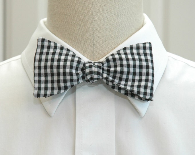 Men's Bow Tie, black and white gingham bow tie, wedding bow tie, groom bow tie, traditional bow tie, monochrome bow tie, groomsmen gift,