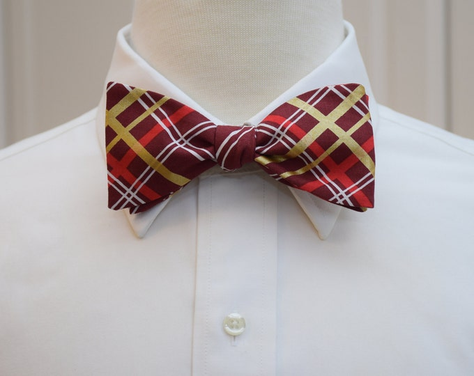 Men's Bow Tie, plaid bow tie, burgundy gold plaid bow tie, metallic gold motif bow tie, self tie bow tie , wedding bow tie, holiday bow tie