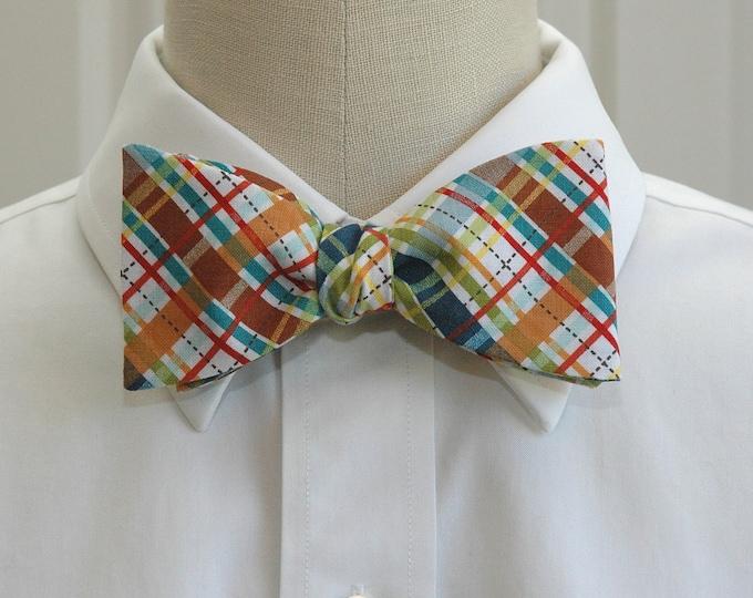 Men's Bow Tie, madras plaid, blue brown plaid bow tie, warm tone plaid bow tie, wedding bow tie, groom bow tie, groomsmen gift, self tie