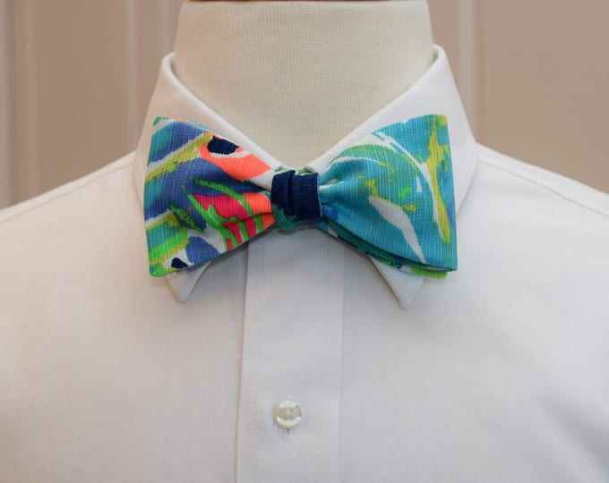 Men's Bow Tie, Purrfect multi blue/green Lilly print, groomsmen gift, wedding bow tie, groom bow tie, prom bow tie, Kentucky Derby bow tie
