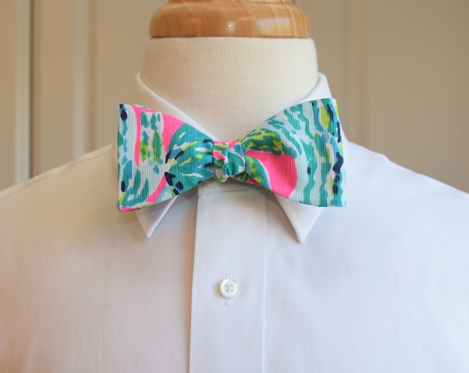 Men's Bow Tie, Snap Back hot pink/lime/aqua/teal Lilly 2019 print, groomsmen/groom bow tie, wedding bow tie, prom, Carolina Cup/Derby