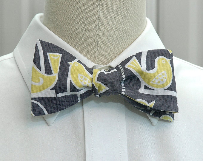 Men's Bow Tie, gray with yellow birds, wedding party bow tie, groom bow tie, groomsmen gift, bird lover bow tie, cute yellow bird bow tie,