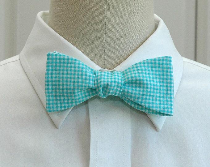 Men's Bow Tie, bright aqua gingham, wedding party bow tie, groom's bow tie, groomsmen gift, mini check bow tie, turquoise bow tie, prom tie