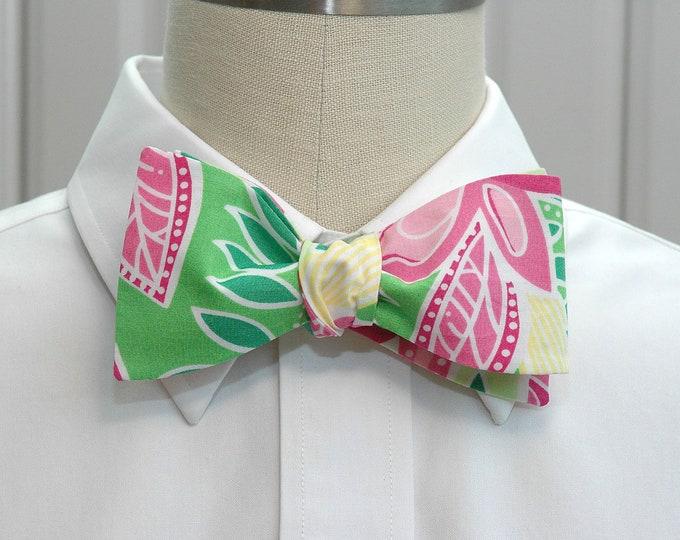 Men's Bow Tie, Summer Fling, pink green retro Lilly bow tie, groom bow tie, wedding bow tie, prom bow tie, butterflies design, LAST ONE