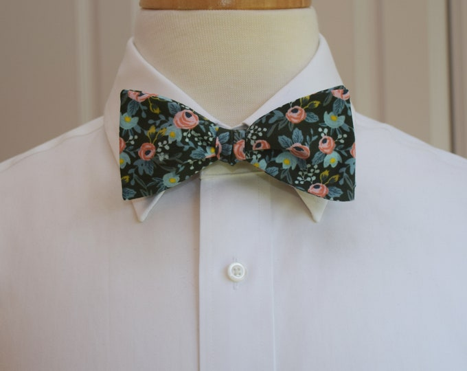 Men's Bow Tie, Rifle Paper Co. Les Fleurs Hunter floral bow tie, wedding bow tie, groom/groomsmen bow tie, peach/aqua/blue/green bow tie