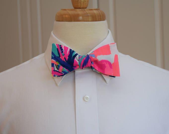 Men's Bow Tie, Gumbo Limbo bright rainbow Lilly print, groomsmen/groom bow tie, wedding bow tie, prom bow tie, tux accessory