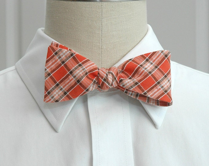 Men's Bow Tie, coral plaid seersucker bow tie, orange bow tie, wedding bow tie, groom bow tie, groomsmen gift, prom bow tie, traditional tie