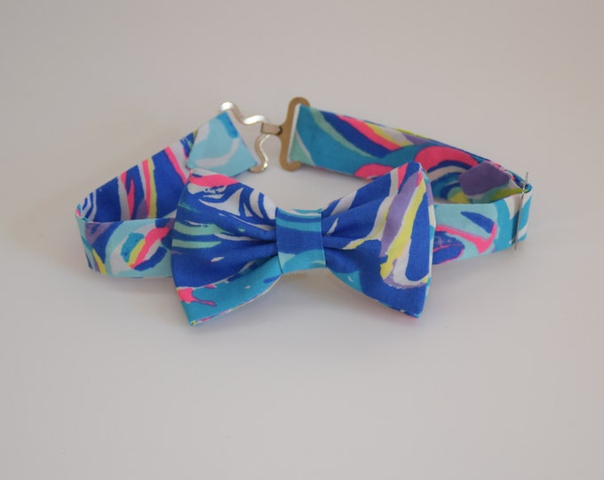 Boy's Bow Tie, Gillty Pleasures 2017 blue/multi Lilly print, father/son matching ties, wedding accessory, toddler bow tie, ring bearer tie
