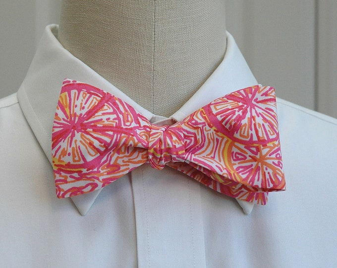 Men's Bow Tie, Ten Speed pink and orange bicycle Lilly bow tie, wedding bow tie, groom/groomsmen bow tie, prom bow tie, bicycle bow tie