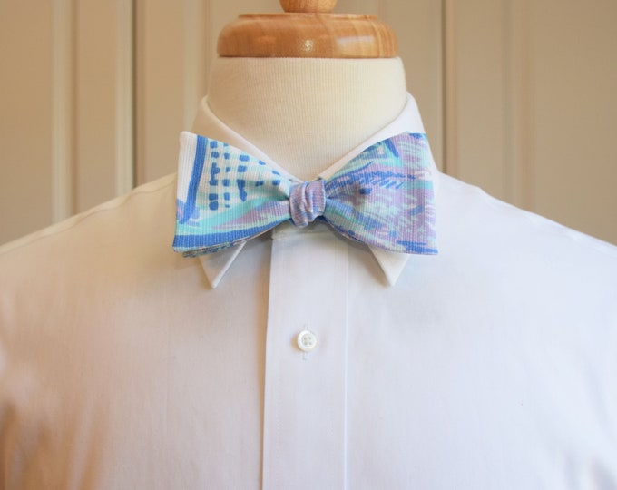 Men's Bow Tie, lilac/blues/aqua Aboat Time Lilly sailboats print, nautical bow tie, groomsmen/groom bow tie, wedding bow tie, prom bow tie