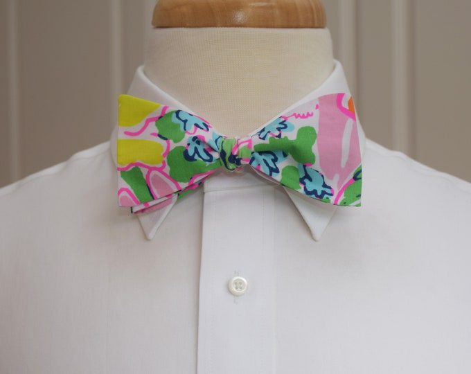 Men's Bow Tie, Nosie Posie multi color Lilly print, wedding bow tie, groom/groomsmen bow tie, prom bow tie, Carolina Cup tie, Derby bow tie
