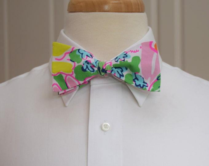 Men's Bow Tie, pink, green, blue, floral, wedding bow tie, groom/groomsmen bow tie, prom/formals bow tie, bouquet, retro, Kentucky Derby