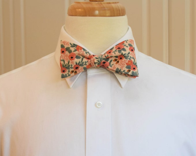 Men's Bow Tie, Rifle Paper Co. Les Fleurs peach floral bow tie, wedding/groom/groomsmen bow tie, peach/green roses bow tie, tuxedo accessory