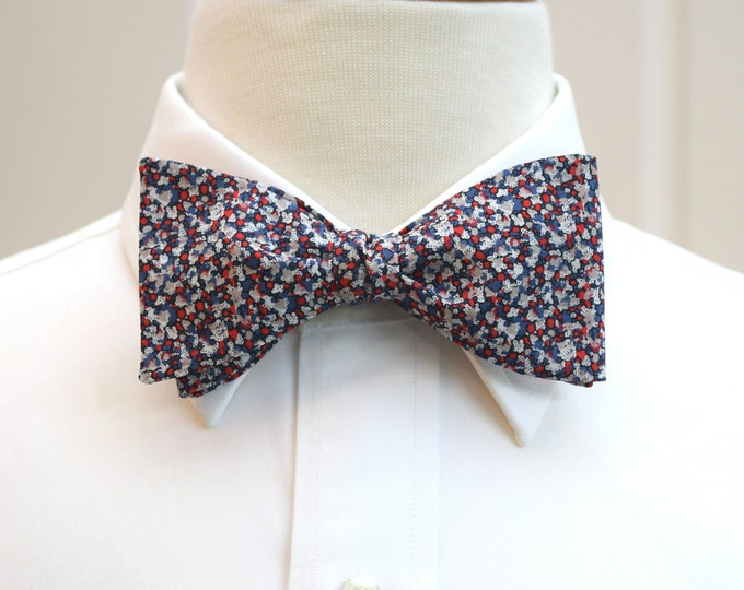 Men's Bow Tie, Liberty of London, blue/gray mini floral design, groomsmen/groom bow tie, wedding bow tie, tuxedo accessory, classic bow tie