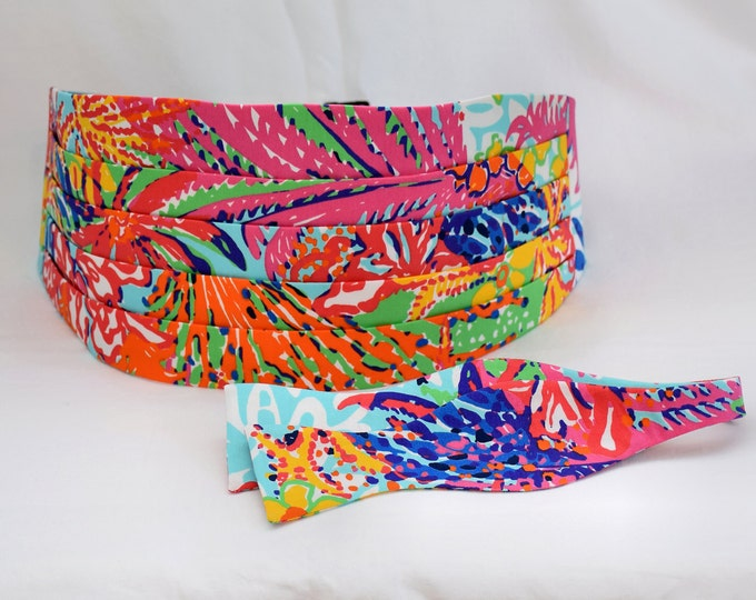 Cummerbund & Bow Tie, Lilly multi color Fishing for Compliments, wedding party, groom cummerbund set, tux accessory,  custom cummerbund set,
