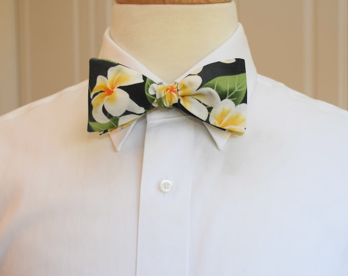 Men's Bow Tie, black Hawaiian print bow tie, tropical bow tie, plumeria flower bow tie, wedding bow tie, groom/groomsmen bow tie, prom tie
