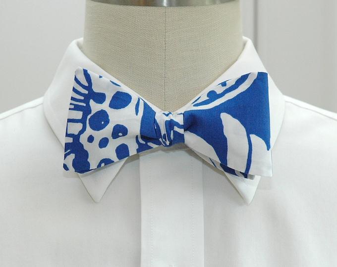 Men's Bow Tie, Quahog Chowdah royal blue/white Lilly print bow tie, wedding bow tie, groom/groomsmen bow tie, cobalt blue/white bow tie