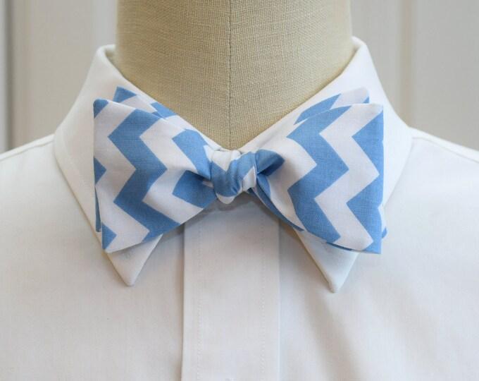 Men's Bow Tie, white/pool blue chevrons, wedding party wear, groom/groomsmen gift, Carolina Blue bow tie, TarHeels blue bow tie, UNC bow tie