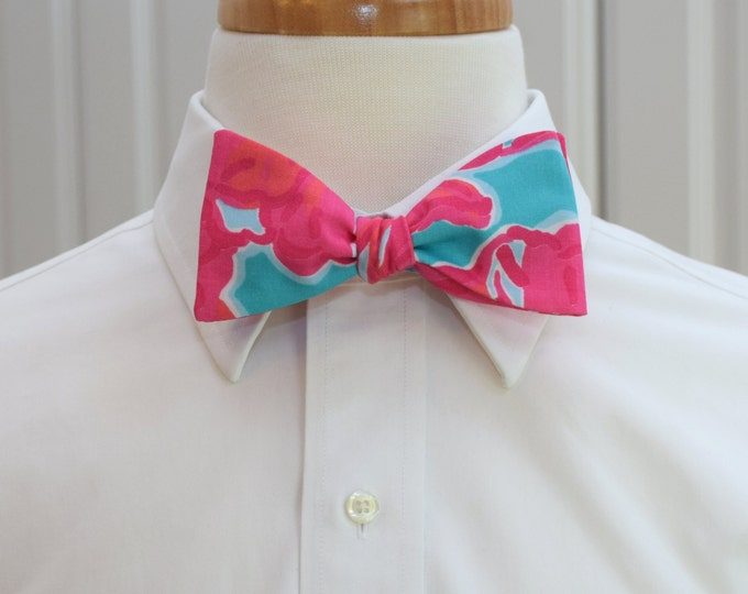 Men's Bow Tie, Flirty, sea blue hot pink Lilly print, bright turquoise, hot pink bow tie, wedding bow tie, beach wedding tie, groom bow tie,